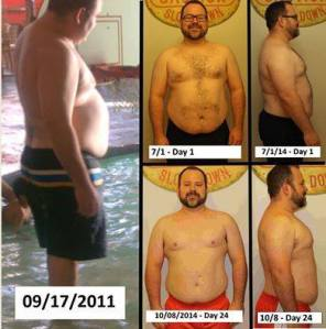 """I wanted to share my overall weight loss journey with you! It all started in June 2011, and over three years later, I'm still going. Recently, I've taken part in two 24-Day challenges and I'm really pleased with the results! I feel great, my energy level is out the roof & I've gotten over the weight loss plateau I experienced. I'm at 40 lbs. lost as of today. Images from left clockwise: 1) Me three years ago 2) (top-right) Day 1 of my 1st 24-day challenge 3) (bottom-right) Day 24 at the end of my 2nd 24-day challenge."" - JH"